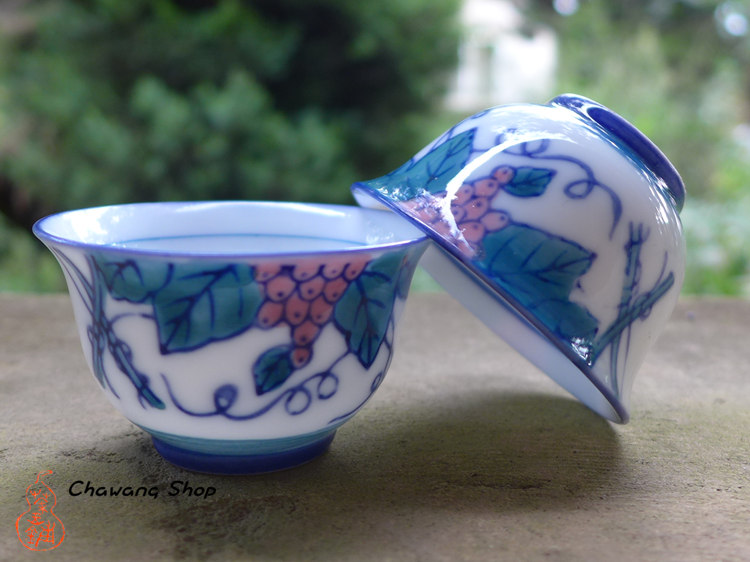 "Chaozhou Gongfu Tea Cups 40ml ""Grape Vine"""