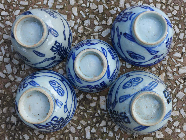 "Vintage Blue And White ""Double Happiness"" Cups"
