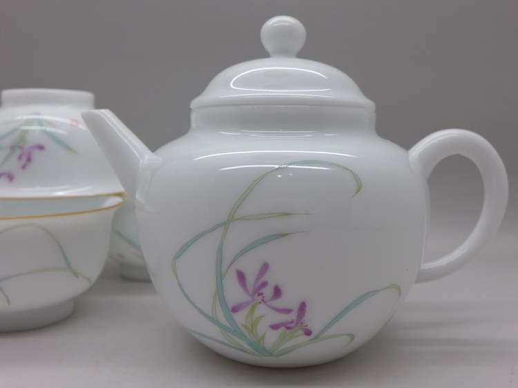 Porcelain Travel Tea Set Orchid Motive