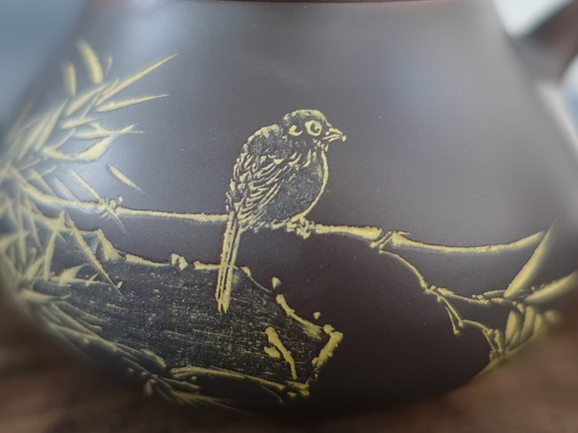 "Nixing Pear shaped Teapot ""Bird and bamboo"" 165ml"