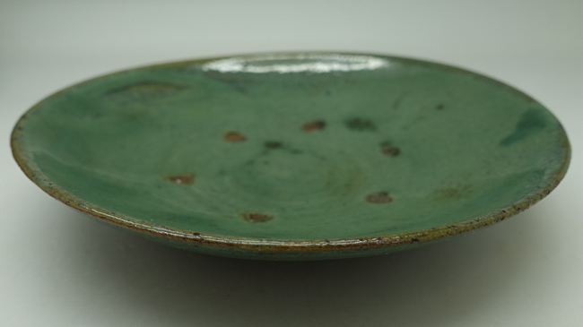 "Vintage Lufeng Pottery Green Plate ""B"""