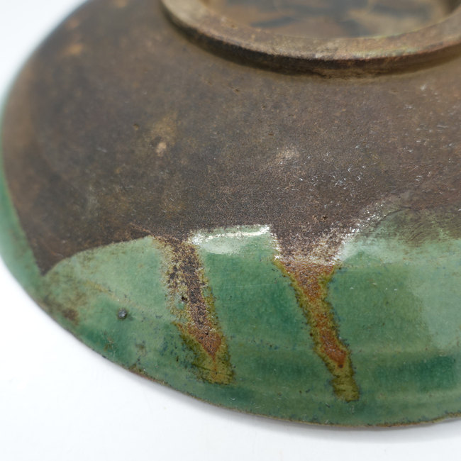"""Vintage Lufeng Pottery Green Plate """"B"""""""