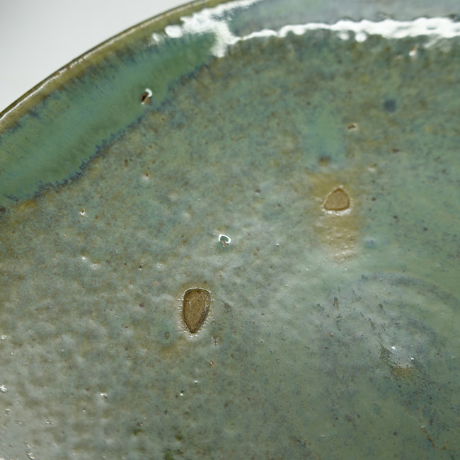 """Vintage Lufeng Pottery Green Plate """"A"""""""